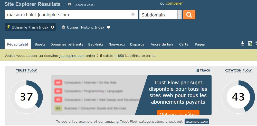 Le trust rank du domaine jeanlepine.com